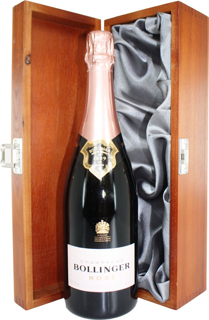 Bollinger Rose Champagne in Luxury Hinged Wooden Gift Box 75 cl