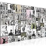 Bilder Collage Banksy Street Art Wandbild 150 x 60 cm Vlies - Leinwand Bild XXL Format Wandbilder Wohnzimmer Wohnung Deko Kunstdrucke Bunt 5 Teilig - MADE IN GERMANY - Fertig zum Aufhängen 302756b
