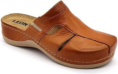 Leon 925 Sandali Zoccoli Sabot Pantofole Scarpe Pelle Donna