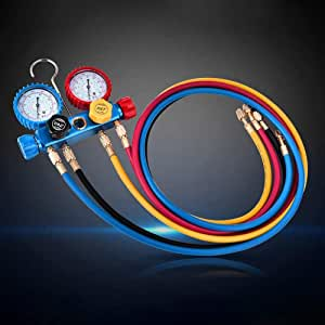 KKTECT Diagnostic A//C Manifold Gauge Set Refrigerant Air Conditioning Tools R134a Refrigeration Kit Brass Auto Service Kit 4FT w//Case 1//4 SAE Fittings