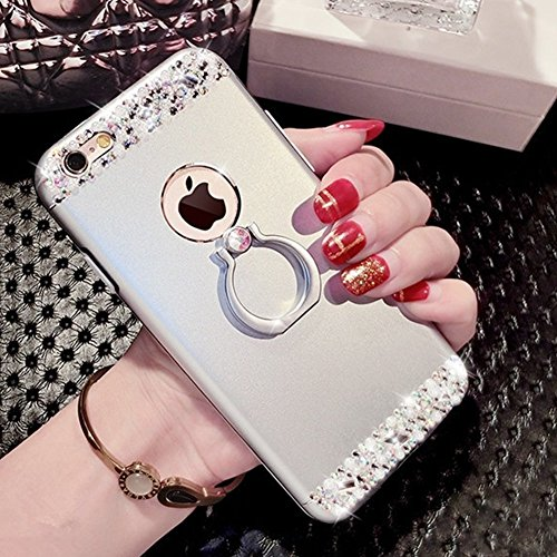 iPhone 6/6S plus Coque Housse Etui Transparent,iPhone 6/6S plus Case Glitter,Hpory élégant Luxe Ange Motif Cristal Clair Transparent Paillette Bling Glitter Diamant Strass Brillante Housse de Protecti Ring Stand,Argent