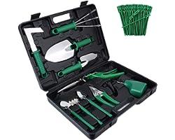 Gardening Tools Set,10 Pieces Stainless Steel Garden Hand Tool, Gardening Gifts for Women,Men,Gardener (Green)