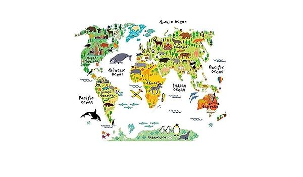 Bambini Grandi educativos Animal//Famous Building Mappa Mondiale Peel Stick adesivi da parete adesivi decorazione arte Doolland Animal World Map
