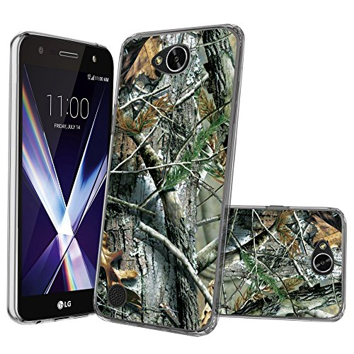 Klar miniturtle Fall Kompatibel mit LG Fiesta, LG Fiesta 2, LG X Power 2, LG X Laden (m320F) [Flex Force Clear Case Serie] [-] [Flexible], Tree Bark Hunter Camo Case Cover Hunter-serie