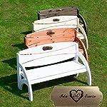 Hochzeitsbank mit Gravur mit Tisch Braun - formschöne Gartenbank zur Hochzeit - personalisierte gravierte Holzbank aus Eukalyptus-Holz als Hochzeitsgeschenk 6
