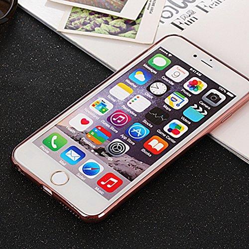 iPhone Case Cover Étui IPhone 6 Plus / 6S Plus, motif clair Electroplate Line TPU Étui souple en caoutchouc Silicone Skin Cover Étui pour IPhone 6 Plus / 6S Plus ( Color : Gold , Size : IPhone 6S Plus Pink