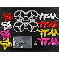 Price comparsion for UUMART 75mm Tiny Whoop Frame Kits with Canopy for KINGKONG TINY 7X DIY Micro FPV Quadcopter Mini Drone (Red/White/Yellow/Rose Red)