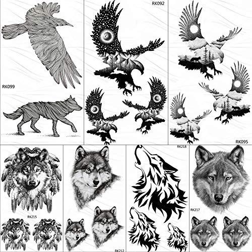 Tatuaggio temporaneo oro tatuaggi temporanei tribali dell'aquila calva dell'autoadesivo tatuaggi su ordinazione di arte del braccio degli uomini neri di arte del tatuaggio della luna piccola piccola