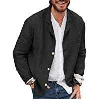 niceoh Men's Casual Blazer Cotton and Linen Three Buttons Solid Color Loose Suit Short Slim Fit Jacket