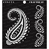 """thecraftshop CrafTreat Stencil Paisley and Border Reusable Painting Template for Art and Craft, Mixed Media, Wall, Home Decor, DIY Albums, Card Making and Fabric, 6""""X6"""""""