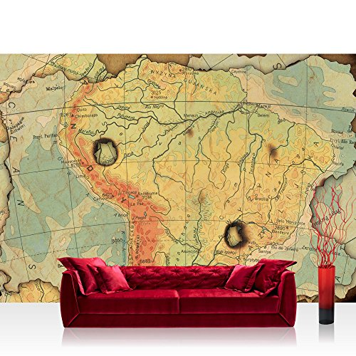 Vlies Fototapete 368x254 cm PREMIUM PLUS Wand Foto Tapete Wand Bild Vliestapete - Städte Länder Tapete Landkarte Karte Kontinent Vintage Globus Wissenschaft Kartografie Reise gelb - no. 4313