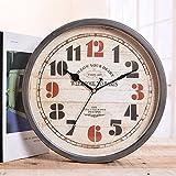 kinine Reloj de pared retro en Europa y América una cara reloj pared reloj simple hierro labrado decorativo pared reloj pared jardín relojes de pared