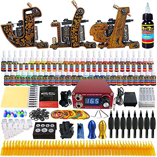 #Solong Tattoo Profi Komplett Tattoomaschine Set 3 Tattoo Maschine Guns 54 Farben/Inks Tinte Nadel Tattoo maschine Set Kit TKC03#