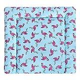 LULANDO Wickelauflage 75x75 cm Oberstoff 100% Baumwolle in tollen Designs. Passend u.a. für die Kommode IKEA Malm Farbe: Flamingos