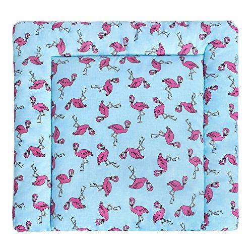 Lulando – Recubrimiento de cambiador de 75x 75cm, exterior 100% de algodón. Compatible con la cómoda Malm de Ikea, entre otras. Color: flamencos