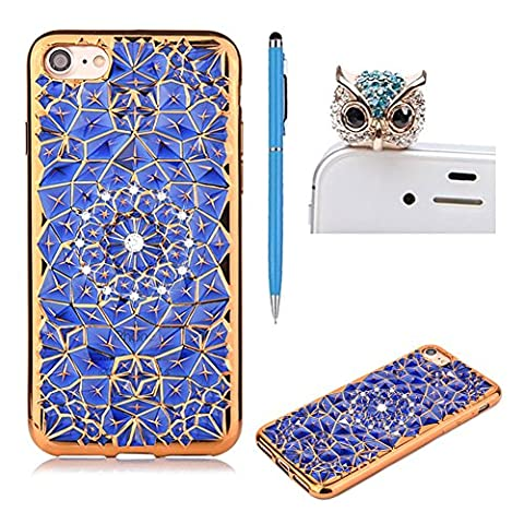 iPhone 6 Plus Case,iphone 6S Plus Case,SKYXD Glitter Bling Crystal Diamond Rhinestone Design Back Cover With Gold Plating Bumper Soft TPU Silicone Clear Skin (Blue) Cover for Apple iPhone 6 Plus/6S Plus +1x Cute Owl Dust Plug +1x Slim Stylus Touch Pen