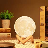 THEODORE 3D USB Rechargeable Moon Lamp Color Changing Sensor Touch Decoration Crystal Ball Night Lamp with Wooden Stand…