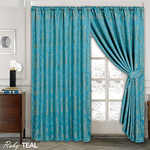LUXURY JACQUARD Curtains Fully Lined Ready Made Tape Top Pencil Pleat Curtains Fusion (TM) (Ruby Teal, 90X90)