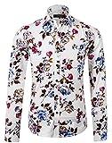 APTRO Herren Fashion Baumwolle Mehrfarbig Luxuriös Blumen Langarm Shirt APT1014 L