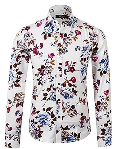 APTRO Herren Fashion Baumwolle Mehrfarbig Luxuriös Blumen Langarm Shirt APT1014