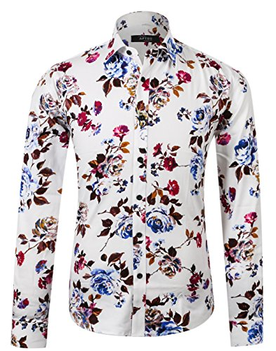 APTRO Herren Fashion Baumwolle Mehrfarbig Luxuriös Blumen Langarm Shirt APT1014, Rosa-weiß, XXL - Für Männer Blumen-shirt