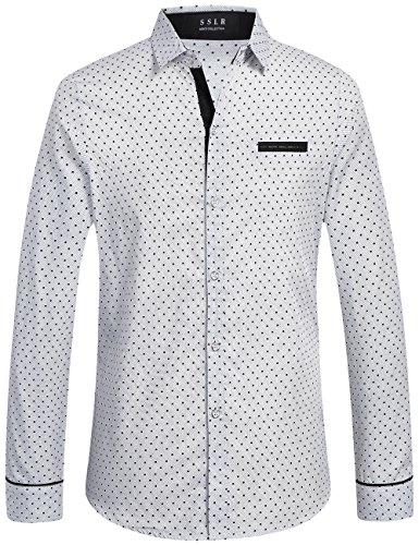 SSLR Camisa de Lunares de Manga Larga para Hombre Slim Fit Casual Polka Dot Shirts (Large, Blanco)