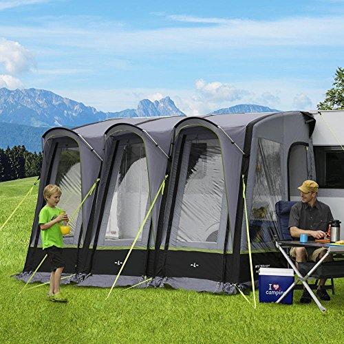 Berger Reisevorzelt Molina-L Deluxe 2 grau schwarz 3000mm Wassersäule aufblasbares Gestänge Teilvorzelt für Wohnwagen Caravan Anbauhöhe 240-255cm