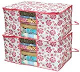 #7: Kuber Industries™ Underbed Storage Bag,Storage Organiser,Blanket Cover Set of 2 Pcs - Pink Flower Design (Extra Large Size) Code-UNDPL07