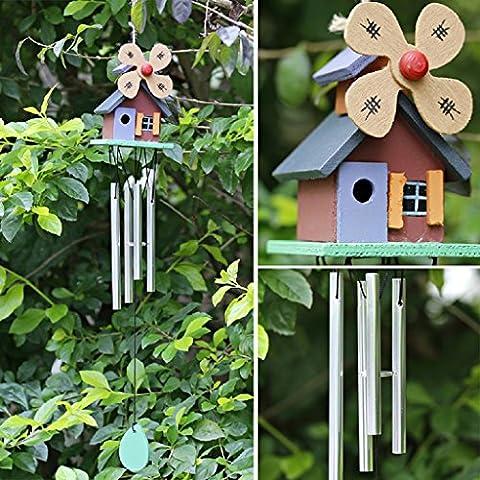 Dairyshop 4tubes Wood House Wind Chimes, couleur cuivre cabines de moulin à vent Décor de jardin Yard Cadeau NEUF