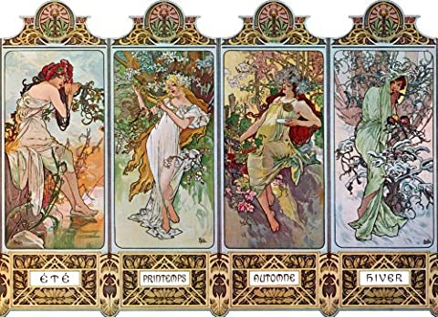 One Handcrafted Alfons Alphonse Mucha Art Nouveau 4 Four Seasons Greeting Card / Note Paper (ete; Printemps; Automne; Hiver)
