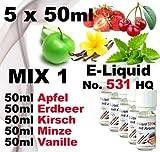 Smokerfuchs 531 HQ MIX 1 Set e-liquides pour cigarette Electronique Aromes pomme/vanille/menthe/cerise/fraise des bois sans nicotine FabriquE en Allemagne 5 x 50 ml