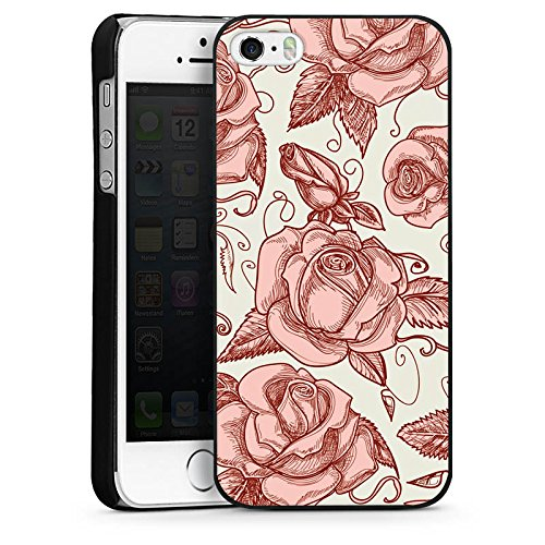 Apple iPhone 5s Housse Étui Protection Coque Roses Roses Roses CasDur noir
