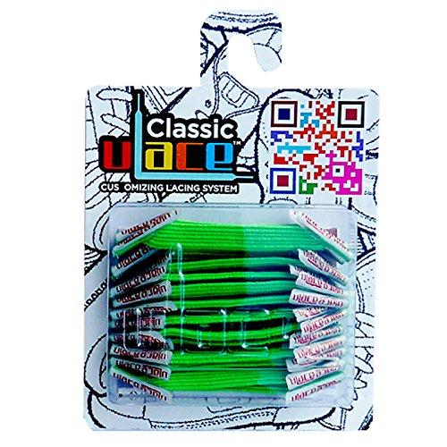 U-LACE - CLASSIC Lacets élastiques multicolores de 7 à 77 ans Adultes Enfants (NEON GREEN)