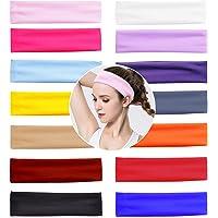 VEGCOO 14 PCS Yoga Cotton Headbands Elastic Stretch Sweatband Hairband Mixed Colors Ballet Head Band for Women/Girls…