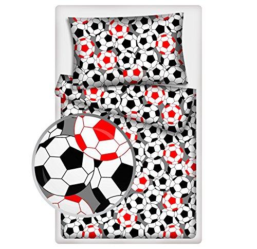 Kinderbettwäsche viele Designs 2-tlg. 100% Baumwolle 40x60 + 100x135 cm (Fußball rot)