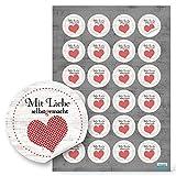 48 Stück kleine runde Aufkleber MIT LIEBE SELBSTGEMACHT rot gepunktetes Herz mit schwarz 4 cm - selbstklebende Etiketten Sticker für Handarbeit handgemacht als Verpackung für Geschenke