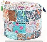 - Un cadeau de Noël parfait Belle Pouf indien Patchwork Couverture Salon Pouf, ottoman décoratif, ottoman Designer brodé, Home Living couverture de chaise de repose-pieds
