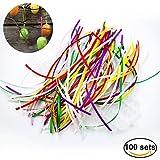 Aokayy 100 Stück Farbiges Bänder Seidenband Aufhänger für Ostereier Kugelaufhänger Dekoration von Ostern Hochzeit Geburtstag Party