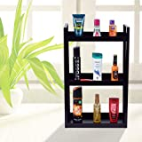 Plantex Deluxe Metal 3 Tier Shelf for Bathroom Kitchen Storage Organizer Home and Office Accessories (Black)