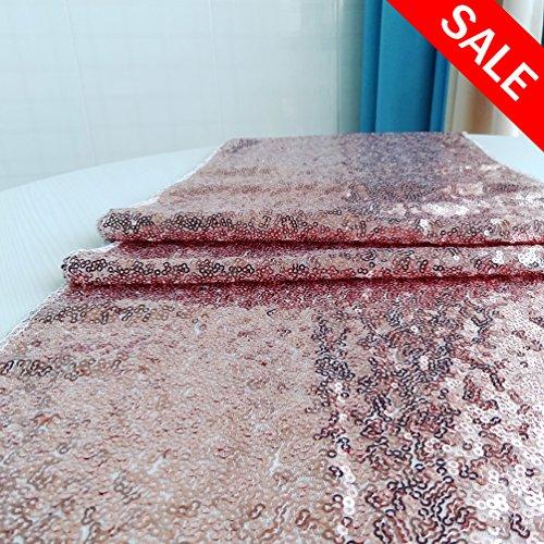 San Tungus® 33x 213,4cm Rose Gold Weihnachten Pailletten Tischläufer, Textil, Rose Gold, 13x84 -inch