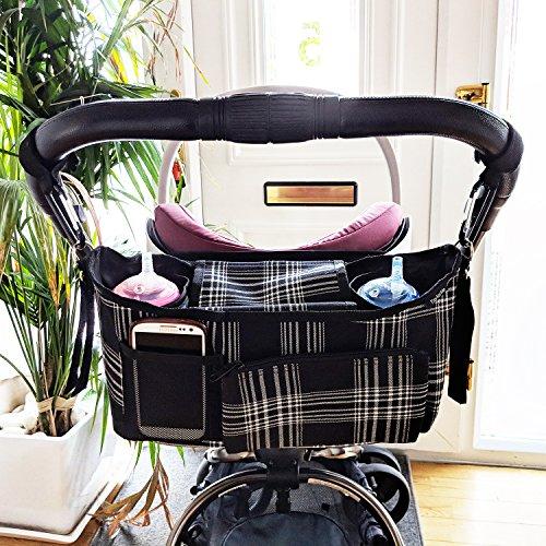 Universel Organisateur/sac de rangement pour Poussettes et Landaus, avec des poches et un porte-monnaie détachable noir