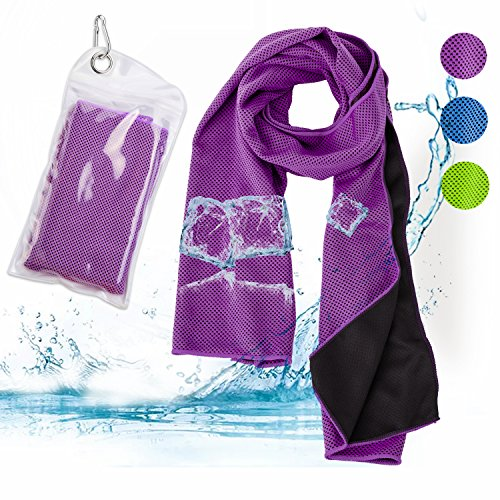 "Savita Cooling Handtuch mit Schnell Quick Dry für Sport, Workout, Yoga, Fitness, Fitness, Pilates, Reisen, Camping & More (40"" x12) (Lila)"