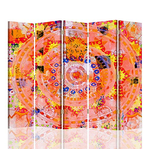 F FEEBY WALL DECOR Biombo Decorativo Mandala 5 Paneles 360° Zen SPA R