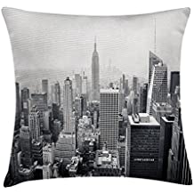 Urban federa per cuscino, usa Decor Theme vista aerea di New York City Skyscrapers and the Foggy Sky stampa digitale, decorative Square Accent Pillow case, 45,7 x 45,7 cm, grigio