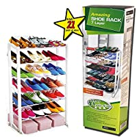 7 TIER SHELF SHOE ORGANIZER RACK STAND HOME CLOSET CUPBOARD 21 PAIR SHOES BOOTS