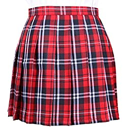 OCHENTA Mujeres Falda Escocesa Plisada con Cintura Escuela Uniforme Falda Cuadros Rojo XX-Large (CN Lable XXXL)