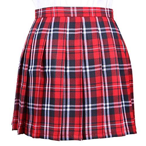 OCHENTA Mujeres Falda Escocesa Plisada con Cintura Escuela Uniforme Falda Cuadros Rojo X-Large (CN Lable XXL)