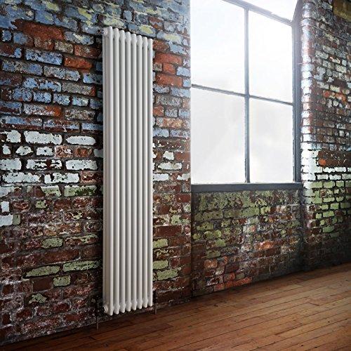 Hudson Reed 'Windsor' Radiatore Termoarredo Tubolare Design Tradizionale Bianco  1800 x 383mm   2192 Watt   Termosifone Stile Ghisa   8 x 3 Colonne   Riscaldamento ad Acqua   Finitura Satinata