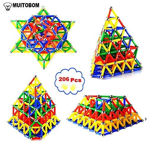 MUITOBOM 206 pcs Educativos Magnéticos Palos Bloques de Construcción de Juguetes, Magnéticos Juguetes 3DConstrucción Juego de Construcción Juguete Educativo Conjunto para Niños (206 Pcs)
