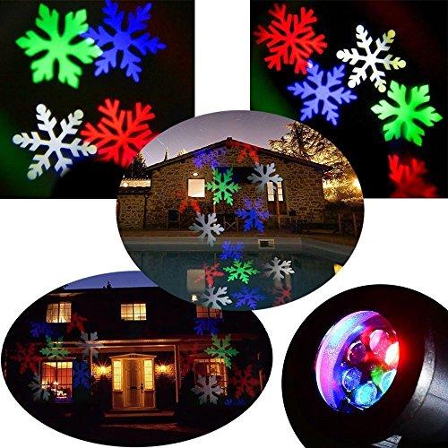 Podofo Proiettore impermeabile fiocchi di neve della luce della lampada LED di paesaggio scintillante Per Interni Esterni Natale Casa decorazione (Multicolor)